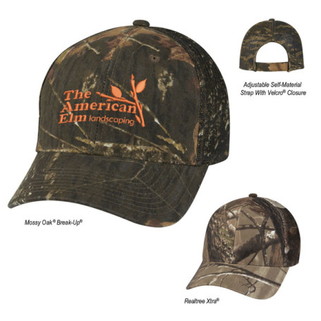 Imprinted Hunter's Retreat Mesh Back Camouflage Cap