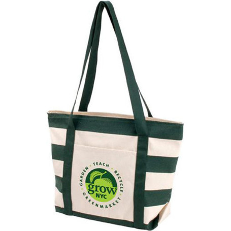 Imprinted Striped Accent Boat Tote