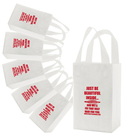 Imprinted Frosted Soft Loop Handle Bags