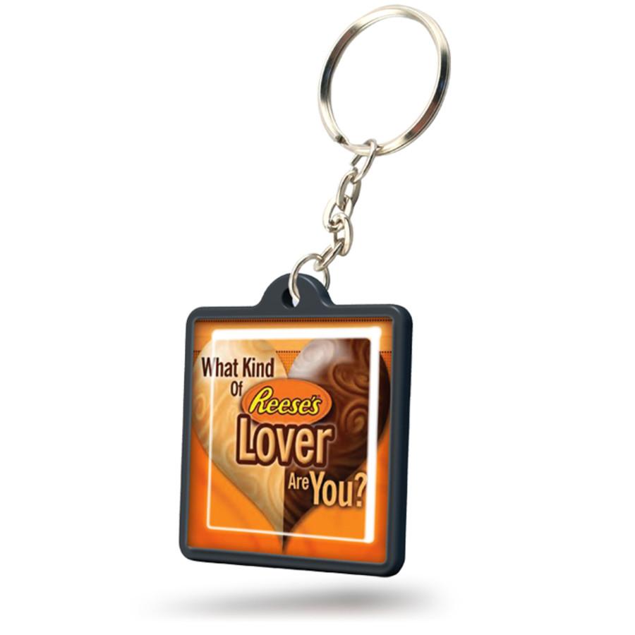 Personalized Logo Square Plastic Keychain