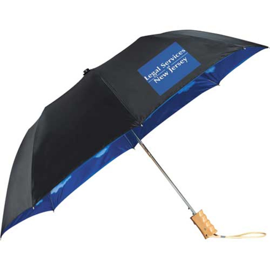 "Customizable 46"" Blue Skies Auto Folding Umbrella"