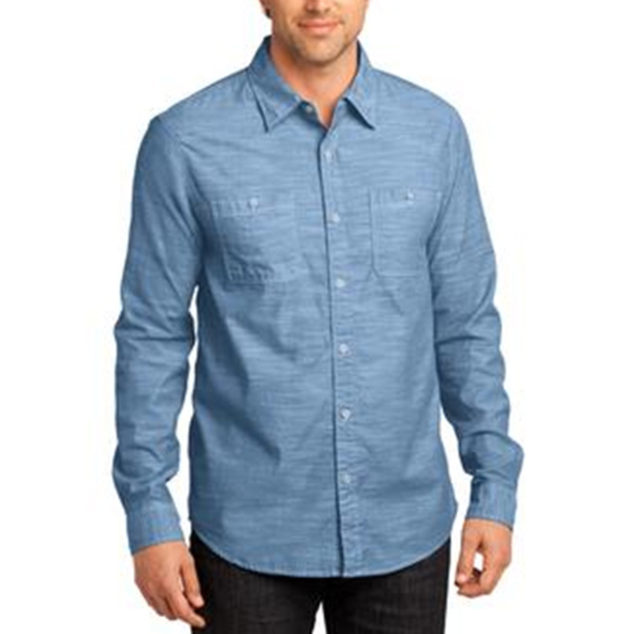District - Mens Long Sleeve Washed Woven Shirt