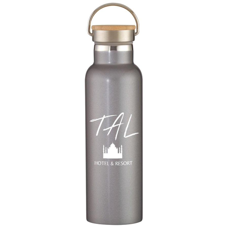 21 Oz Liberty Stainless Steel Bottle With Wood Lid Silkletter