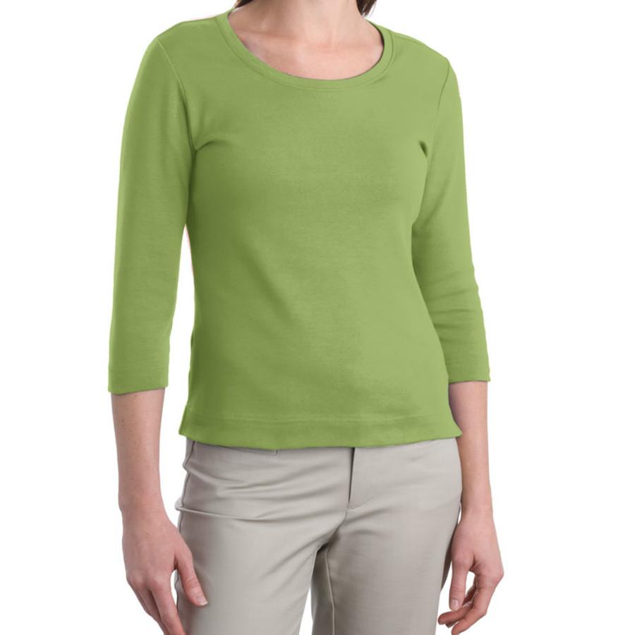 Port Authority Ladies Modern Stretch Cotton 3/4-Sleeve Scoop Neck Shirt (Apparel)