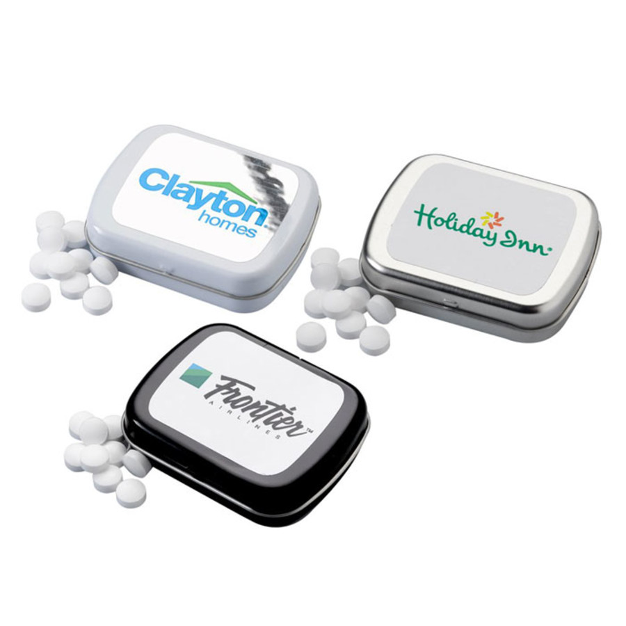 Monogrammed Sugar-Free Mints in Small Hinged Tin