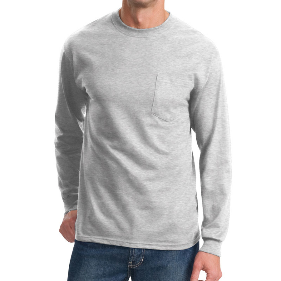 Port & Company - Long Sleeve Essential T-Shirt with Pocket (Apparel)
