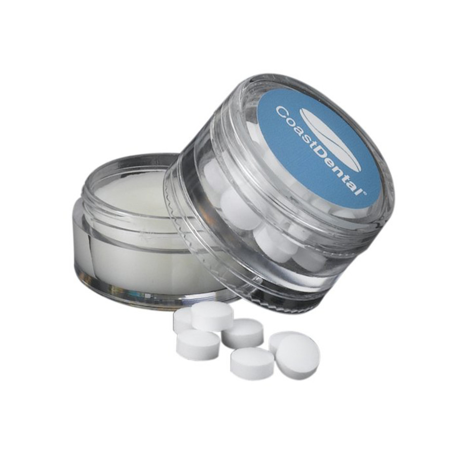 Printed Sugar-Free Mints and Natural Lip Balm in Double Stack Jar