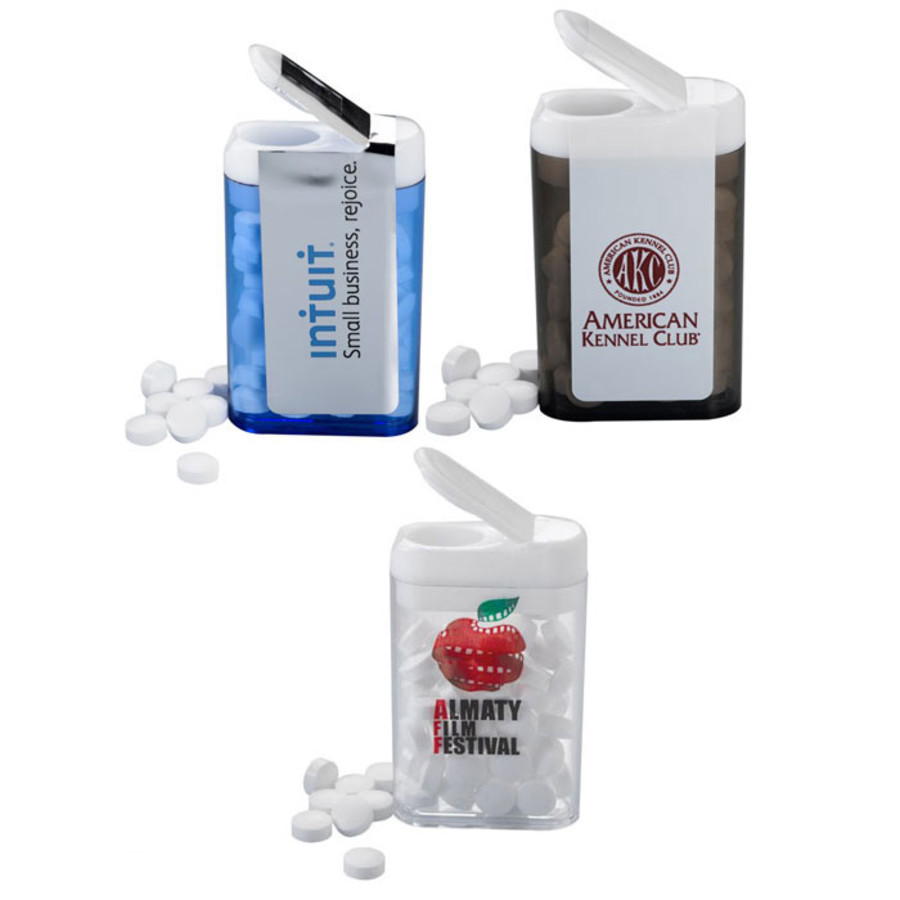 Promotional Sugar-Free Mints in Rectangle Flip Top Dispenser