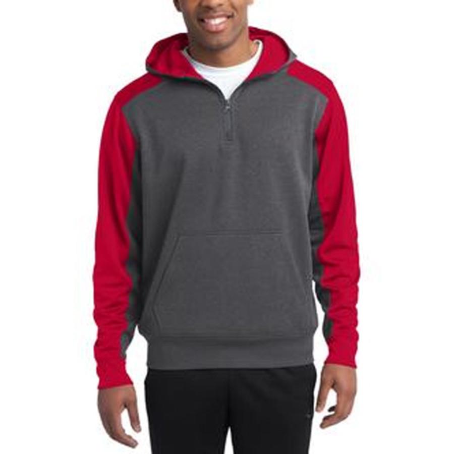 Sport-Tek-Colorblock Tech Fleece 1/4-Zip Hooded Sweatshirt