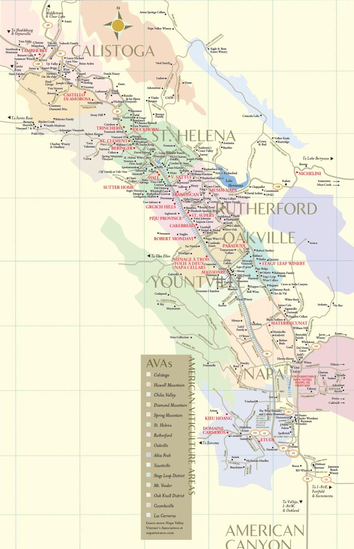 Napa Valley Winery Map LG