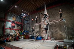 Streb Action Company performs in indoor spaces