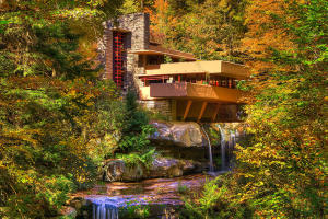 Frank Lloyd Wright's Fallingwater architectural attraction in Laurel Highlands