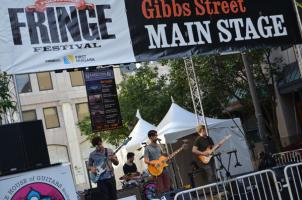 band playin on the main stage on Gibbs Street