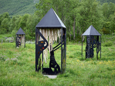 Musical sculptures in Fekjo Heritage Park in Geilo