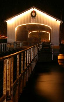 Lowell Covered Bridge in Holiday Lights by Traci Williamson