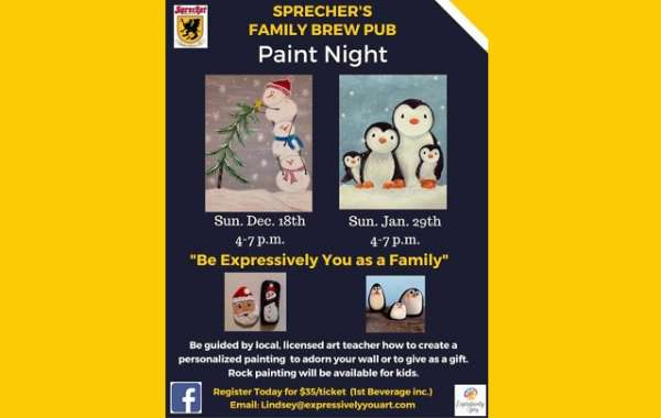 "Sprecher's Family Brew Pub Paint Night- ""Suited Penguins"""