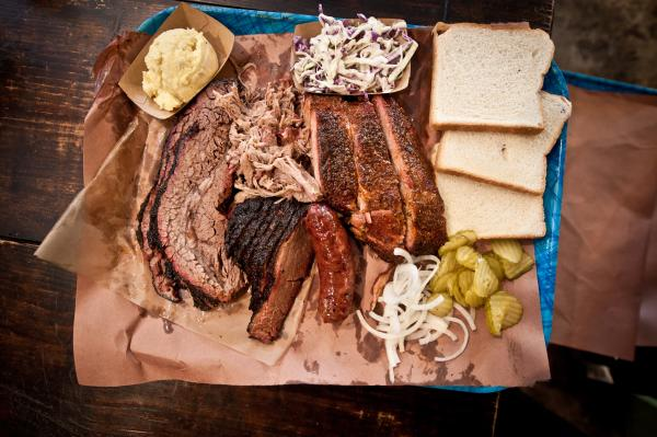 Platter of BBQ brisket from Franklin barbecue