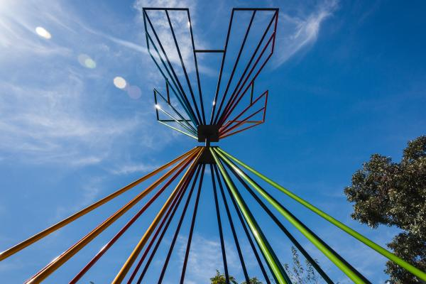 Lookin up at XYZ Atlas Congress Avenue sculpture The Vortex