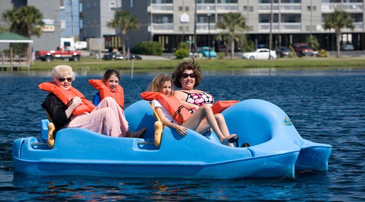 Family fun with paddle boats at Carolina Beach Lake Park