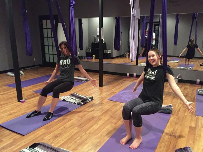 aerial yoga sitting