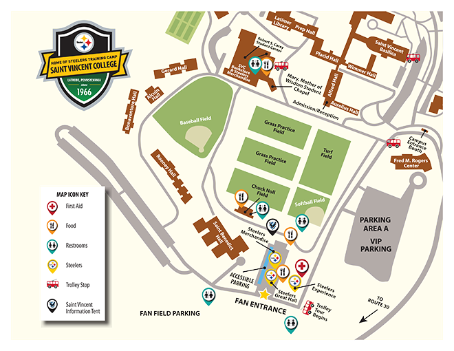 2016 Steelers Training Camp campus map