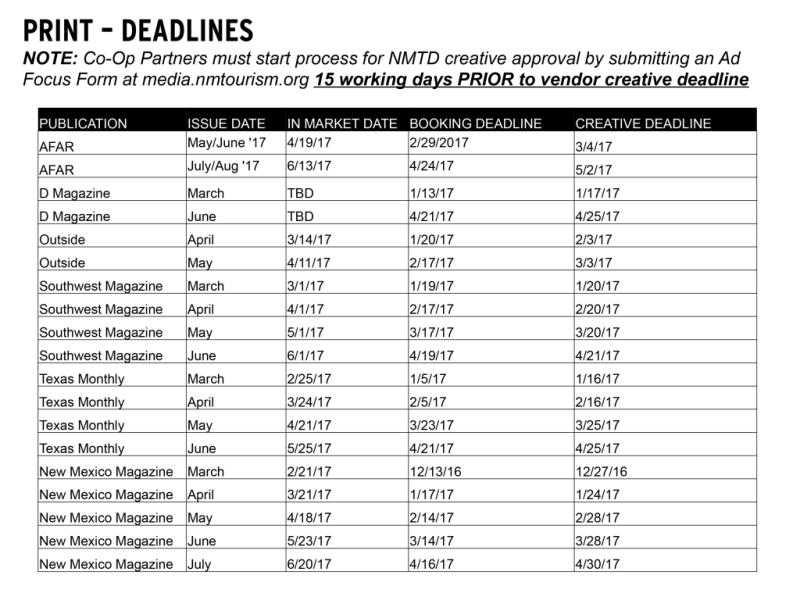 NMTD Co-Op MMP: Print Deadlines