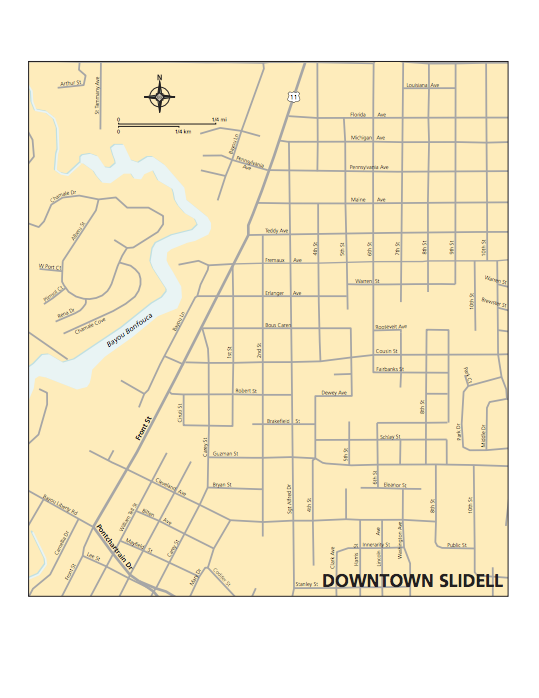 Map of Slidell Downtown