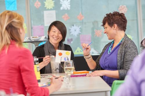 Women enjoying Wine and Paint Experiences