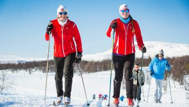 two girls on the cross country skis