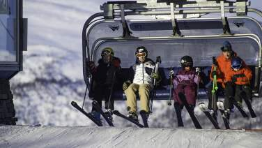 Family in a charlift in Geilo
