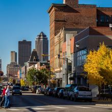 Historic East Village with Downtown Des Moines skyline