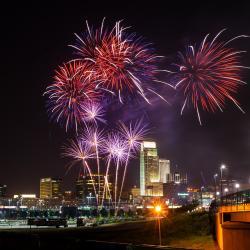 Omaha Skyline with Fireworks