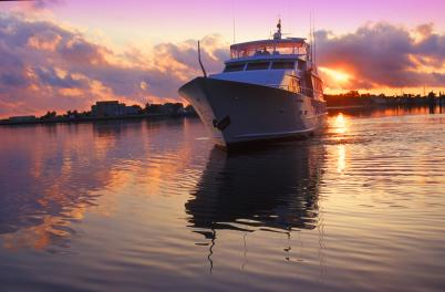 Boat with ICW sunset