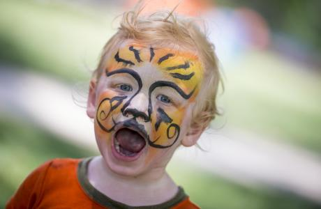 "Child with ""tiger"" face paint, with roaring expression"
