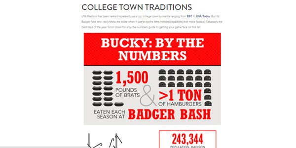 College Town Traditions - Bucky By the Numbers Infographic  - Screenshot