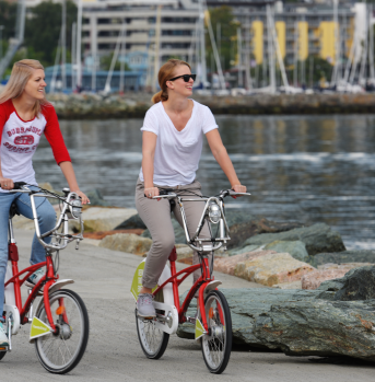 Cycling along the waterfront in Trondheim