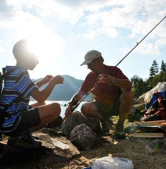 Angling for trout in the mountain