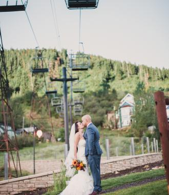 Bride and Groom at Town Lift