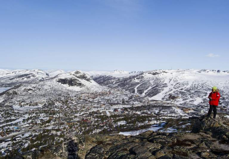View to the mountains in Hovden