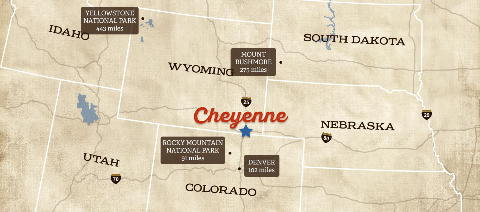 Visit Cheyenne Wyoming - Map of northern wyoming