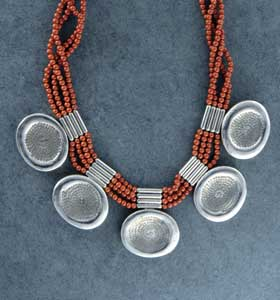 Silver Catlinite Bead Necklace