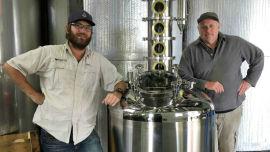 Greg Garnish and senior winemaker Bernie Stanlake with the Harmans Pisco still.