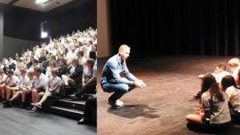 Paris Mitchell motivates students at Joseph Banks Secondary College.