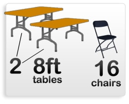 2 8ft Rectangle Tables & 16 Black Chairs