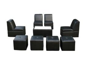 8 Person Lounge Furniture Set in Black