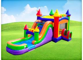 Modern Rainbow Bounce House Combo (Wet/Dry)