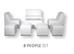 8 Person Lounge Furniture Set in White
