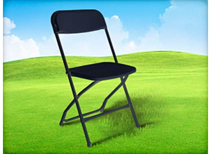 black plastic resin folding chair for rent
