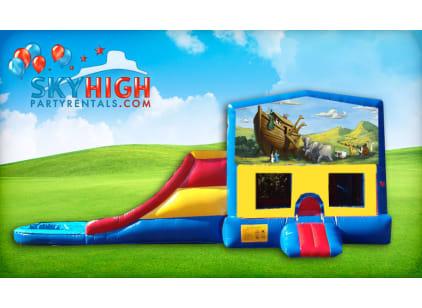 Noah's Ark church themed bounce house slide