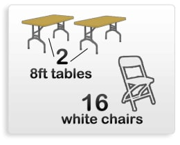 2 8ft table 16 chair rentals